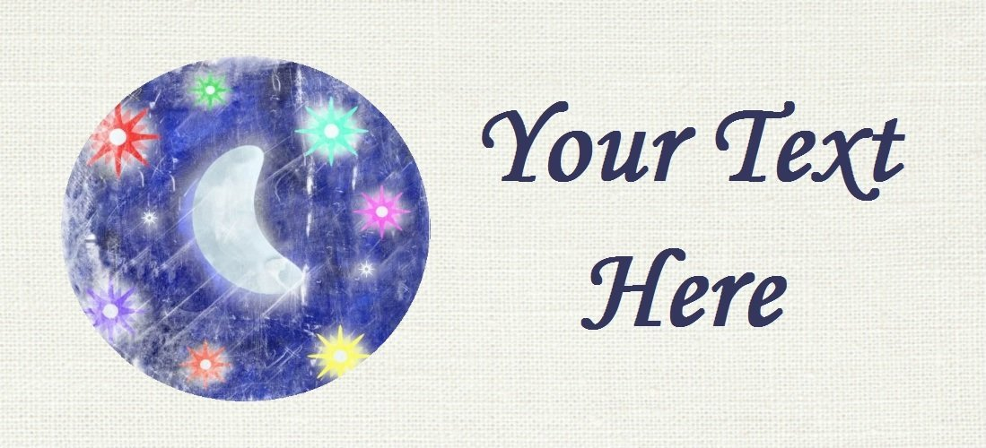 """Moon & Stars - """"Iron on"""" or """"Sew In""""  - 100% Cotton Fabric Labels (White)"""
