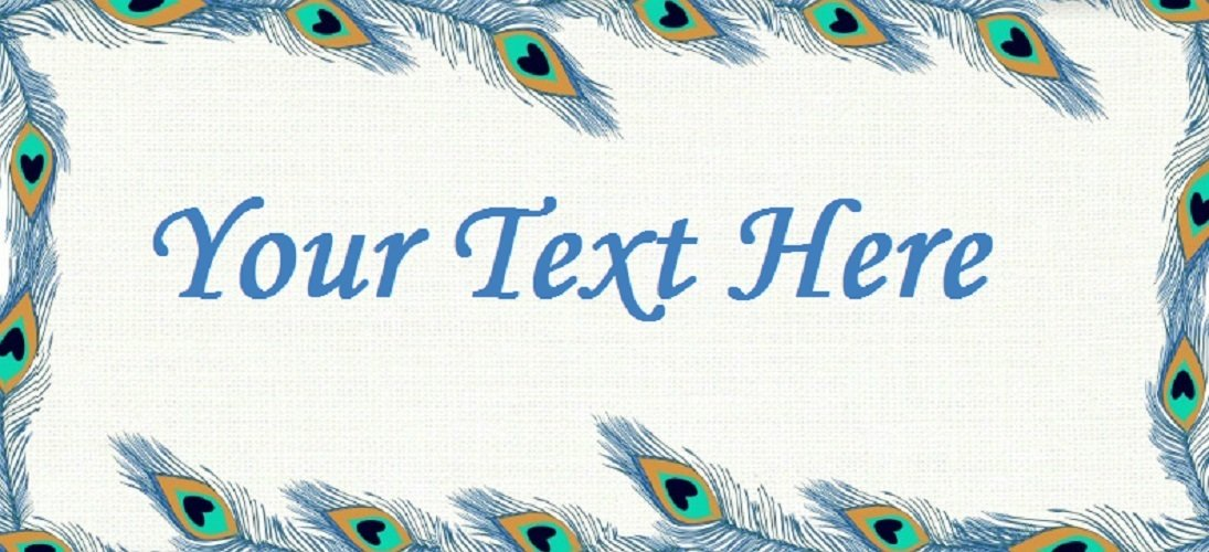 """Peacock Feather Frame - """"Iron on"""" or """"Sew In"""" - 100% Cotton Fabric Labels (White)"""