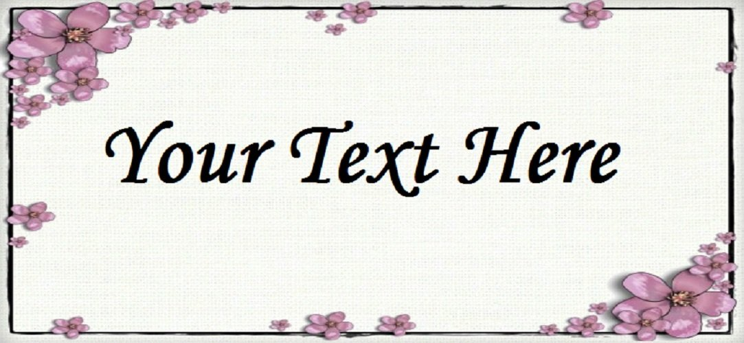 "Pink Flower Frame - ""Iron on"" or ""Sew In"" - 100% Cotton Fabric Labels (White)"