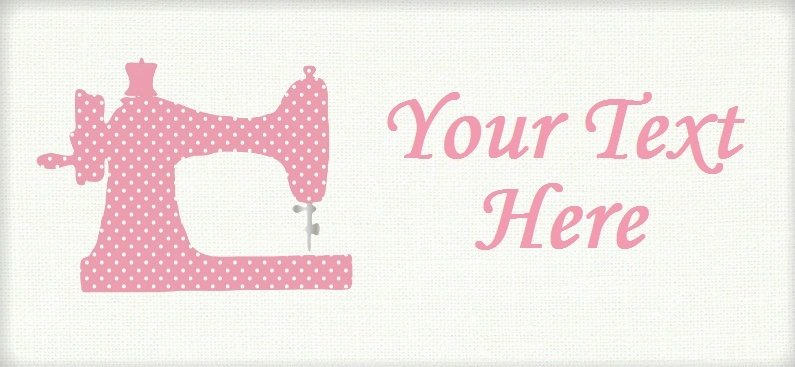 "Pink Polka Dot Sewing Machine - ""Iron on"" or ""Sew In"" - 100% Cotton Fabric Labels (White)"