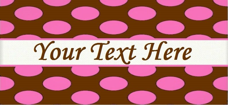 "Pink Polka Dots - ""Iron on"" or ""Sew In"" - 100% Cotton Fabric Labels (White)"