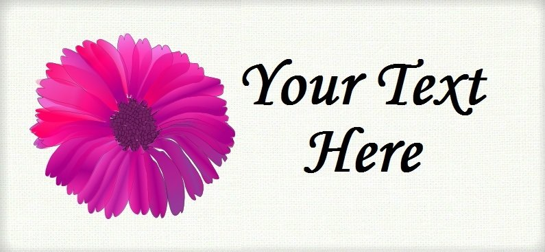 """Pink Daisy Flower - """"Iron on"""" or """"Sew In"""" - 100% Cotton Fabric Labels (White)"""