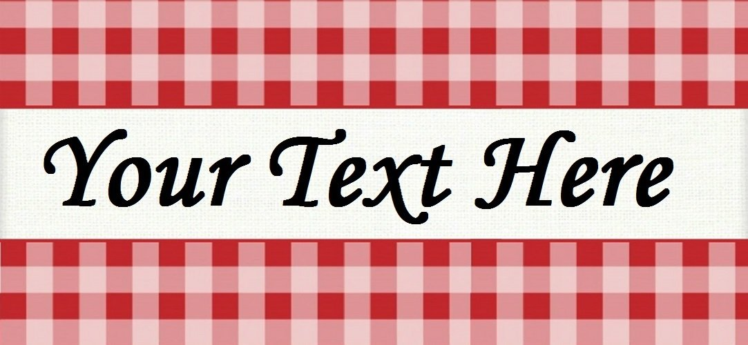 "Red Picnic Plaid - ""Iron on"" or ""Sew In"" - 100% Cotton Fabric Labels (White)"