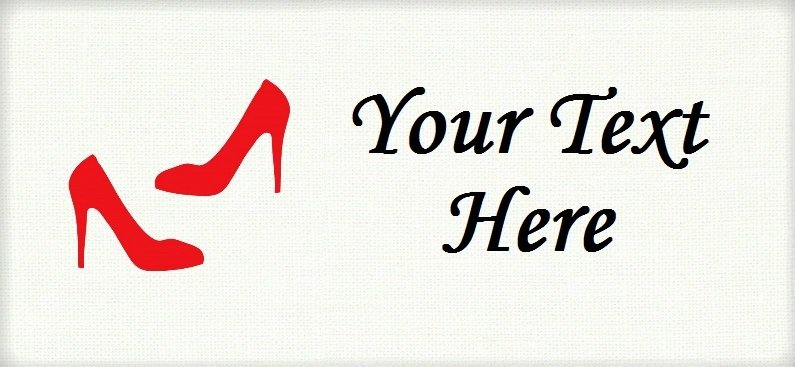 "Red Heel Pumps - ""Iron on"" or ""Sew In"" - 100% Cotton Fabric Labels (White)"