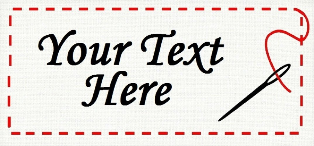 """Red Quilted Frame - """"Iron on"""" or """"Sew In""""  - 100% Cotton Fabric Labels (White)"""