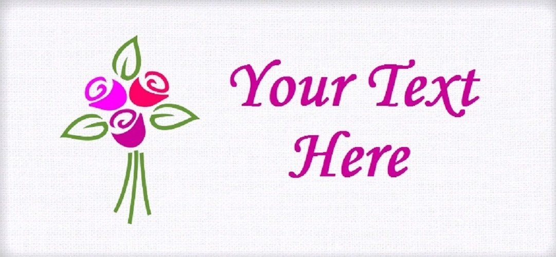 """Rose Bouquet - """"Iron on"""" or """"Sew In"""" - 100% Cotton Fabric Labels (White)"""