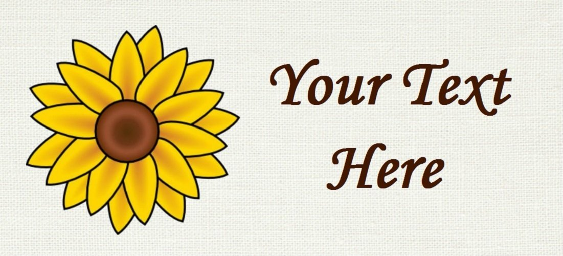 """Sunflower - """"Iron on"""" or """"Sew In""""  - 100% Cotton Fabric Labels (White)"""