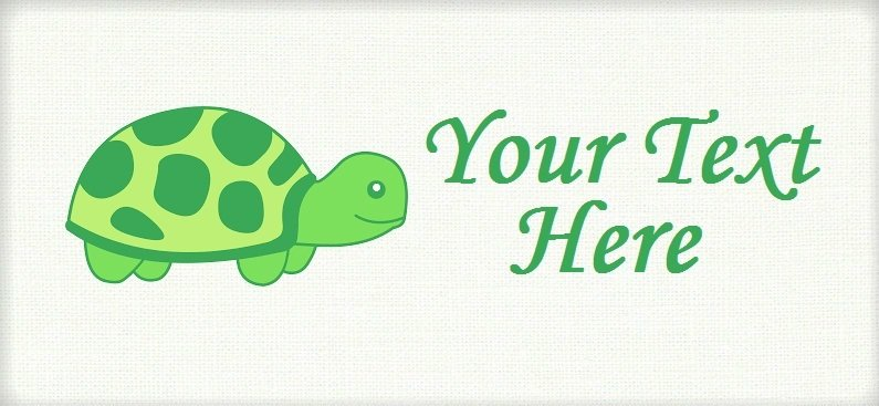 "Green Turtle - ""Iron on"" or ""Sew In"" - 100% Cotton Fabric Labels (White)"