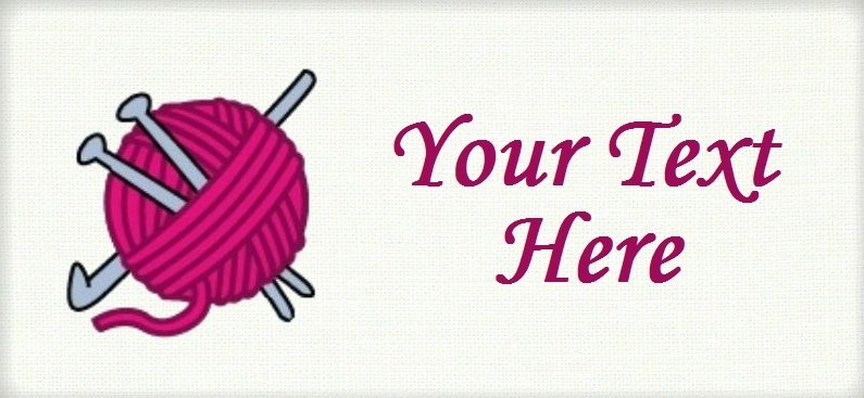 "Crochet and Knit with Yarn - ""Iron on"" or ""Sew In"" - 100% Cotton Fabric Labels (White)"