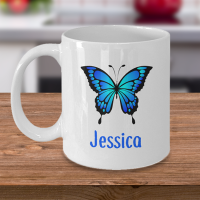 Blue Butterfly - Curse Mug - Coffee Cup Mug - Tea Mug - Ceramic Mug Gift - Coffee Lover - Gift for Crafty Friend