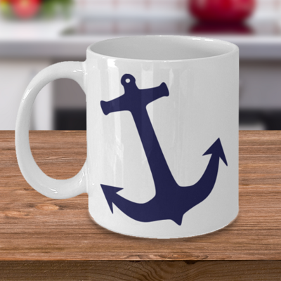 Blue Ship Anchor - Coffee Cup Mug - Tea Mug - Ceramic Mug Gift - Coffee Lover - Gift for Crafty Friend