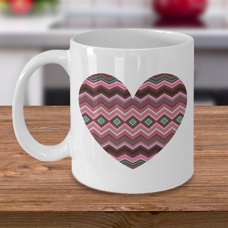 Pink Chevron Heart- Vincent Van Gogh - Famous Painter - Famous Artist - Custom Mugs
