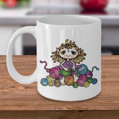 Crochet Elf - Coffee Cup Mug - Tea Mug - Ceramic Mug Gift - Coffee Lover - Gift for Crafty Friend