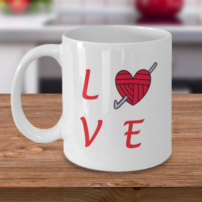 Love Crochet - Tea Mug - Ceramic Mug Gift - Coffee Lover - Gift for Crafty Friend