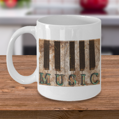 Grunge Piano Music - Tea Mug - Ceramic Mug Gift - Coffee Lover - Gift for Crafty Friend
