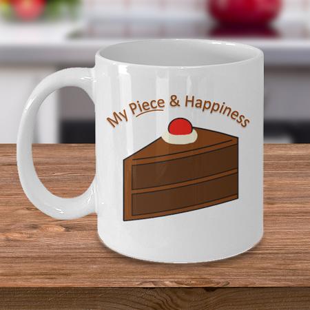Piece and Happiness - Tea Mug - Ceramic Mug Gift - Coffee Lover - Gift for Crafty Friend
