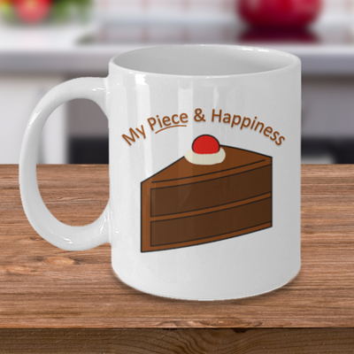 Piece and Happiness - Tea Mug - Ceramic Mug Gift - Coffee Lover - Gift for Crafty Friend