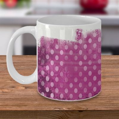 Pink Polka Dot - Tea Mug - Ceramic Mug Gift - Coffee Lover - Gift for Crafty Friend