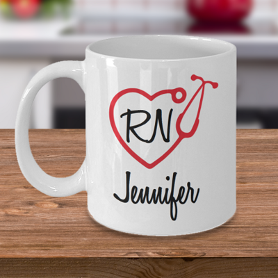 RN-Stethoscope - Tea Mug - Ceramic Mug Gift - Coffee Lover - Gift for Crafty Friend