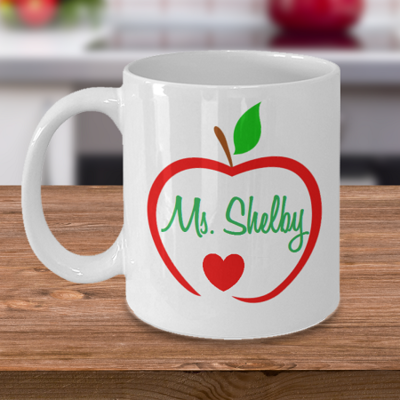 Teacher's Name Apple - Tea Mug - Ceramic Mug Gift - Coffee Lover - Gift for Crafty Friend