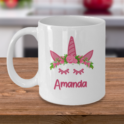 Pink Unicorn with Name- Curse Mug - Coffee Cup Mug - Tea Mug - Ceramic Mug Gift - Coffee Lover - Gift for Crafty Friend