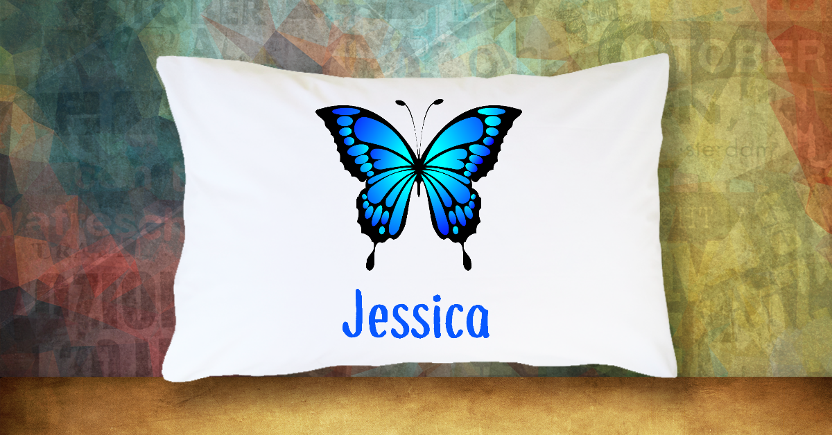 Blue Butterfly with Name - Standard Pillow Case/Customized Pillow Case/Personalized Pillow Case/Photo Pillow Case/Decor Pillow Case