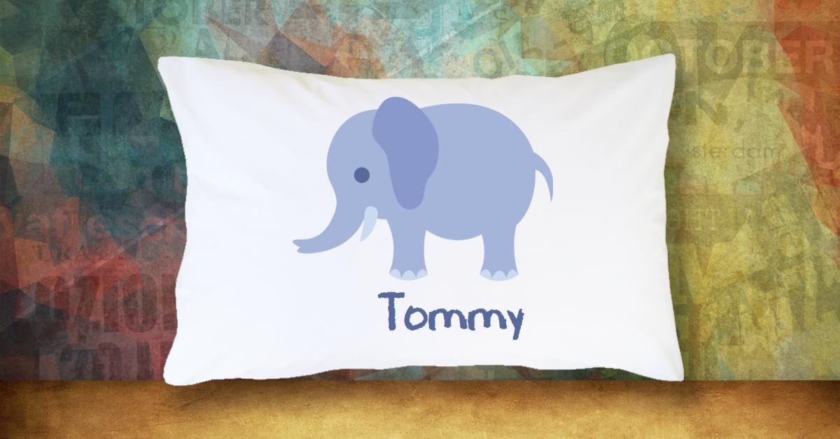 Blue Boy Elephant with Name - Standard Pillow Case/Customized Pillow Case/Personalized Pillow Case/Photo Pillow Case/Decor Pillow Case