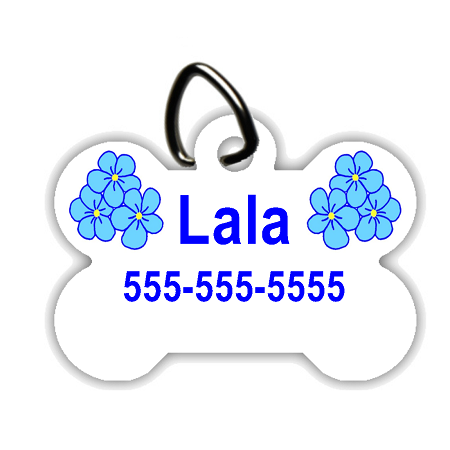 Blue Flowers - Personalized Pet/Dog Tag - Dog Collar Tag - Pet ID Tag
