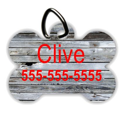 Old Gray Wood - Personalized Pet/Dog Tag - Dog Collar Tag - Pet ID Tag