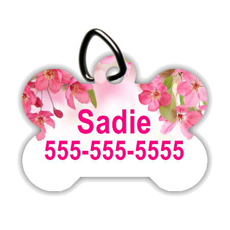Pink Flower Header - Personalized Pet/Dog Tag - Dog Collar Tag - Pet ID Tag