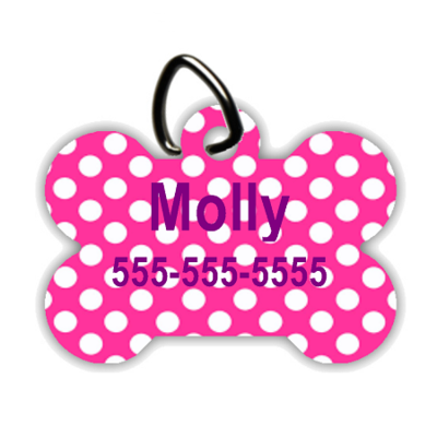 Pink Polka Dot - Personalized Pet/Dog Tag - Dog Collar Tag - Pet ID Tag