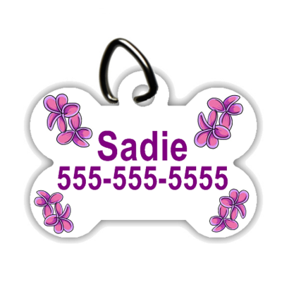 Purple Flowers - Personalized Pet/Dog Tag - Dog Collar Tag - Pet ID Tag