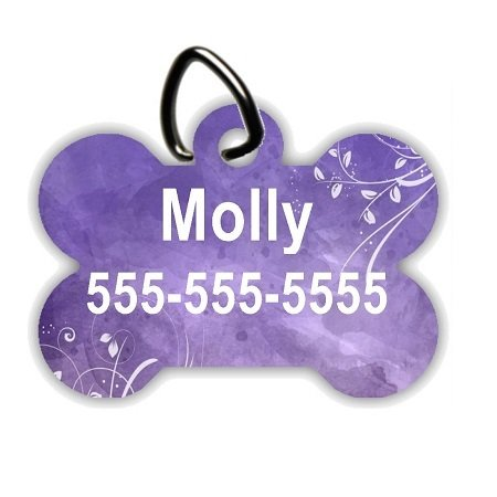 Purple Watercolor - Personalized Pet/Dog Tag - Dog Collar Tag - Pet ID Tag