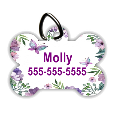 Purple Butterflies - Personalized Pet/Dog Tag - Dog Collar Tag - Pet ID Tag