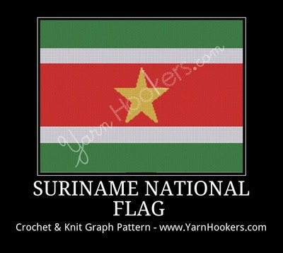 Suriname National Flag - Afghan Crochet Graph Pattern Chart by Yarn Hookers.com