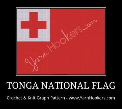 Tonga National Flag - Afghan Crochet Graph Pattern Chart by Yarn Hookers.com