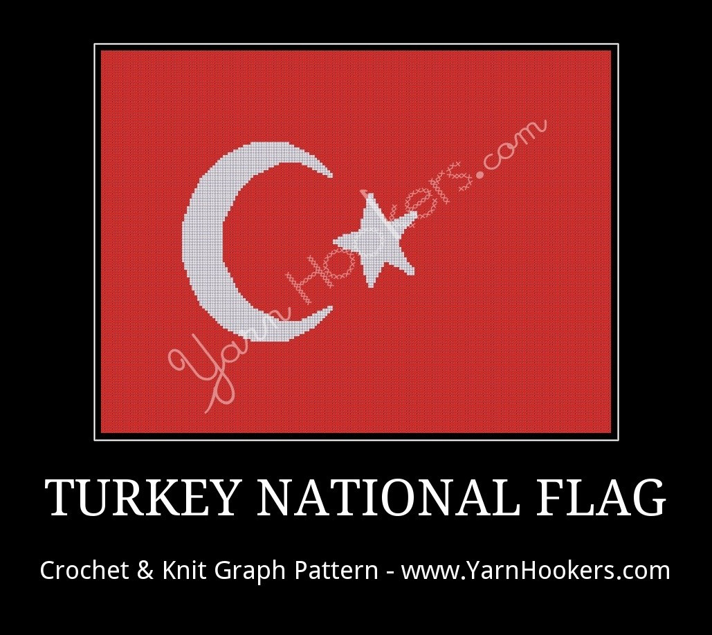 Turkish National Flag - Afghan Crochet Graph Pattern Chart by Yarn Hookers.com