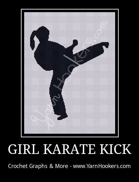 Girl Karate Kick - Afghan Crochet Graph Pattern Chart by Yarn Hookers.com