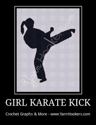 Girl Karate Kick - Afghan Crochet Graph Pattern Chart by Yarn Hookers.com