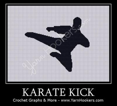 Karate Kick - Afghan Crochet Graph Pattern Chart by Yarn Hookers
