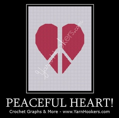Peaceful Heart  - Afghan Crochet Graph Pattern Chart by Yarn Hookers.com