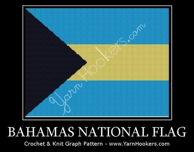 Bahamas National Flag - Afghan Crochet Graph Pattern Chart by Yarn Hookers.com