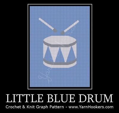 Little Blue Drum - Afghan Crochet Graph Pattern Chart by Yarn Hookers.com