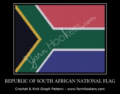 Republic of South Africa National Flag - Afghan Crochet Graph Pattern Chart by Yarn Hookers.com