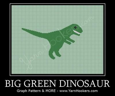 Big Green Dinosaur  - Afghan Crochet Graph Pattern Chart by Yarn Hookers.com