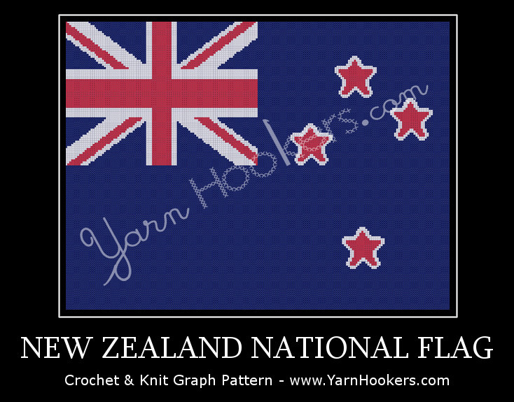 New Zealand National Flag - Afghan Crochet Graph Pattern Chart by Yarn Hookers.com