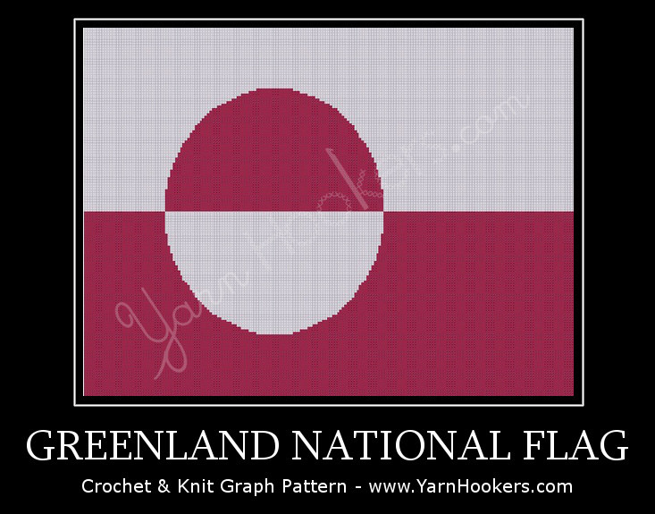 Greenland National Flag - Afghan Crochet Graph Pattern Chart by Yarn Hookers.com