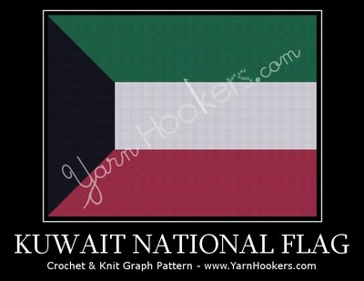 Kuwait National Flag - Afghan Crochet Graph Pattern Chart by Yarn Hookers.com