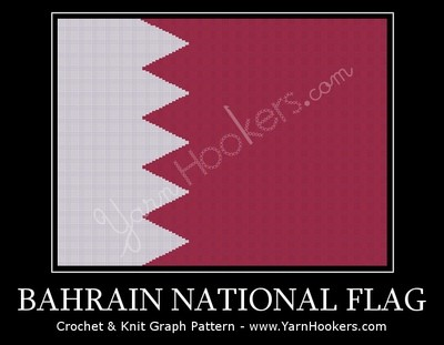 Bahrain National Flag - Afghan Crochet Graph Pattern Chart by Yarn Hookers.com