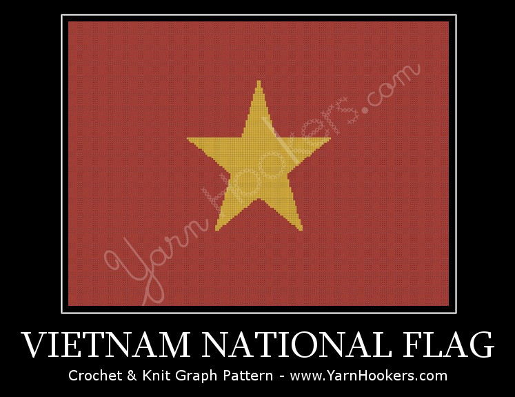 Vietnam National Flag - Afghan Crochet Graph Pattern Chart by Yarn Hookers.com